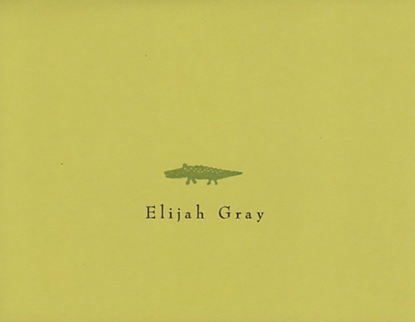 """A personalized greeting card that reads """"Elijah Gray"""" with a small green alligator"""