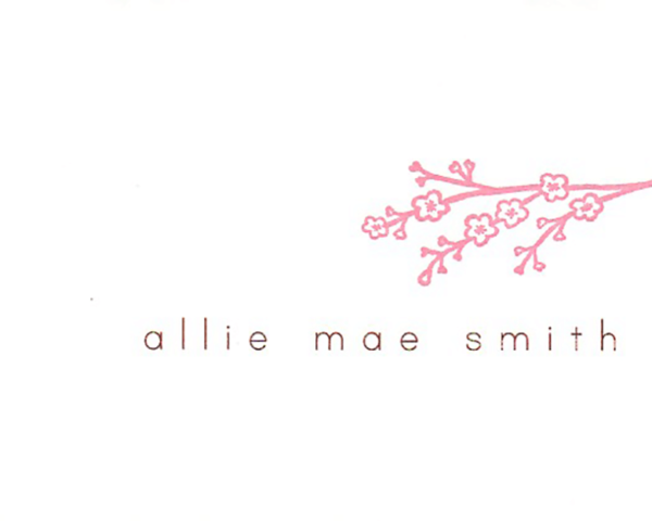 """A personalized csard that reads """"Allie Mae Smith"""" with a pink cherry blossom branch"""