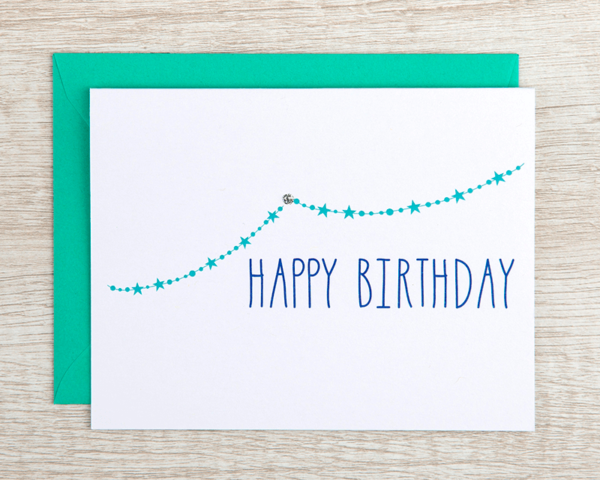 """A hand-drawn greeting card that reads """"Happy Birthday"""" with a string of teal stars"""