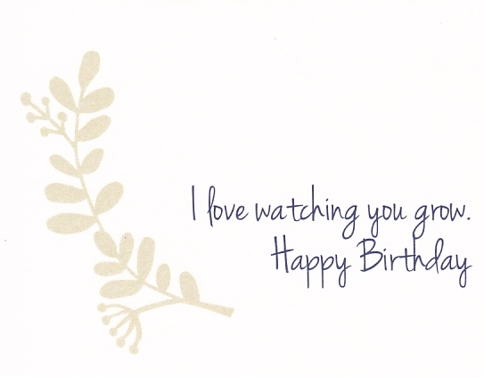 """Happy Birthday card for kids and younger family and friends that reads """"I love watching you grow. Happy Birthday"""" with a brown flower design"""