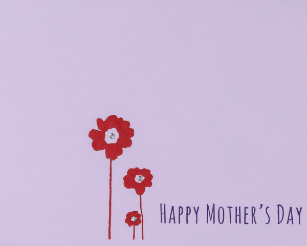 """Lavendar Mother's Day card with red flowers with sparkly centers that reads """"Happy Mother's Day"""""""