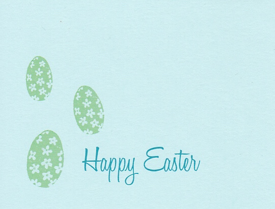 """Light blue Easter card with a green floral egg pattern that reads """"Happy Easter"""""""