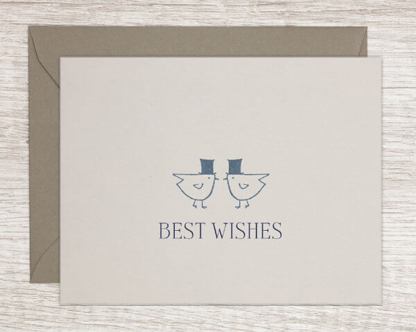 "LGBTQ+ pride wedding congratulations card with two stylized hand drawn birds wearing top hats that reads ""best wishes"""