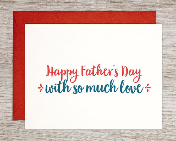 """Father's Day greeting card that reads """"Happy Father's Day with so much love"""" in red and blue with a red envelope"""