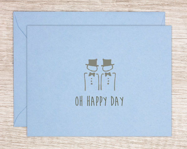 "LGBTQ+ pride wedding gretting card with two hand drawn men in formal wear and top hats that reads ""oh happy day"""