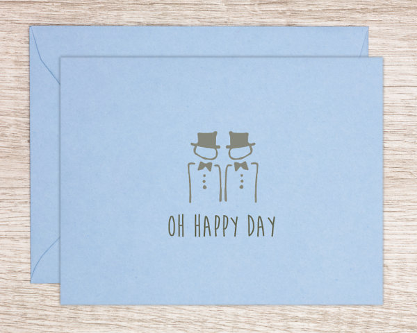 """LGBTQ+ pride wedding gretting card with two hand drawn men in formal wear and top hats that reads """"oh happy day"""""""