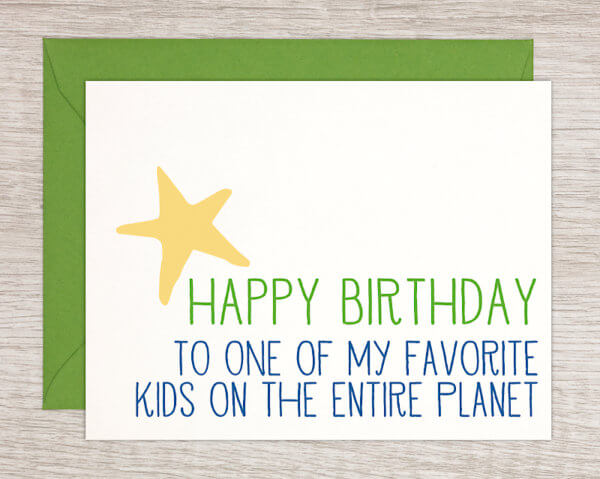 """Handmade children's birthday card that reads """"Happy Birthday to one of my favorite kids on the entire planet"""" with a yellow star and green envelope"""