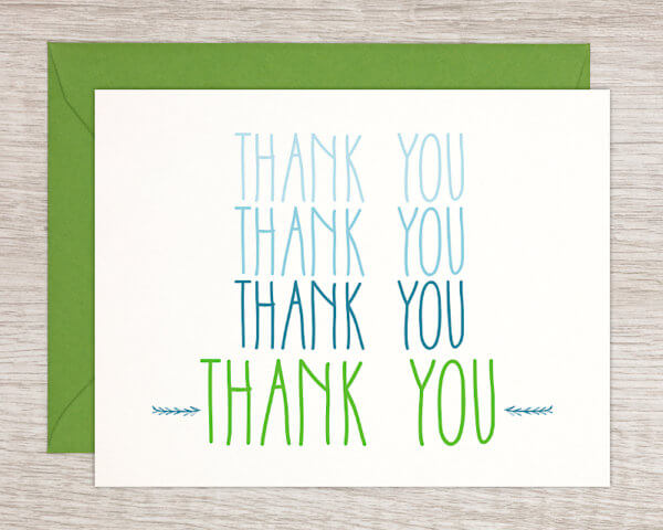 Blue and green handmade thank you greeting card with a green envelope made in Northampton, MA