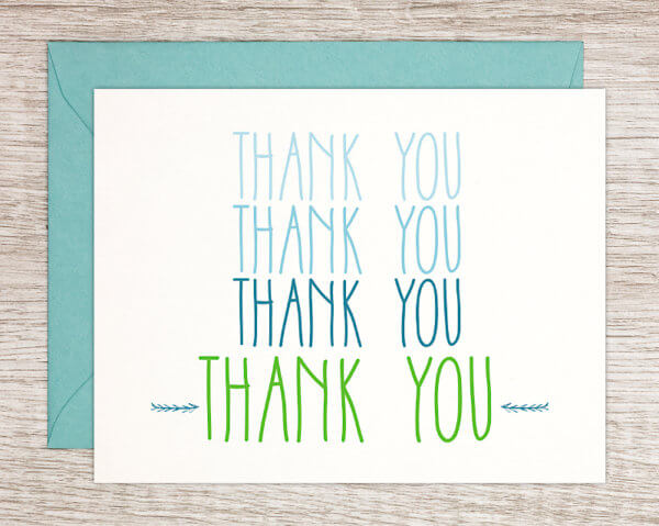 Blue and green handmade thank you greeting card with a light blue envelope